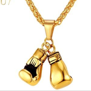 New 18K Gold Boxing Glove Necklace